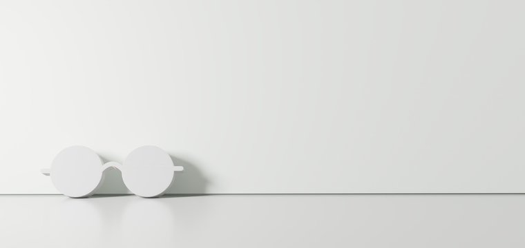 3D rendering of white symbol of eyeglasses icon leaning on color wall with floor reflection with empty space on right side