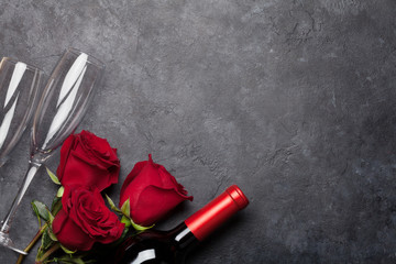 Autocollant pour porte Fleur Valentines day with wine and roses