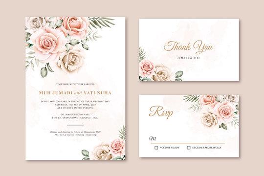 Elegant wedding card set template watercolor