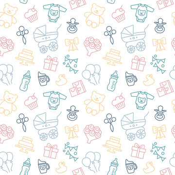 Seamless vector background on the theme of celebrating a baby shower