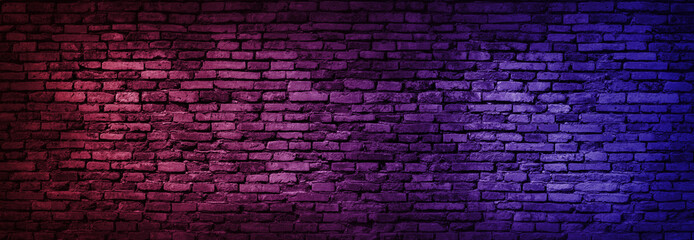 Poster Brick wall Neon light on brick walls that are not plastered background and texture. Lighting effect red and blue neon background of empty brick basement wall.