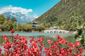 Beautiful view of the Jade Dragon Snow Mountain and the Suocui Bridge over the Black Dragon Pool in the Jade Spring Park, Lijiang,
