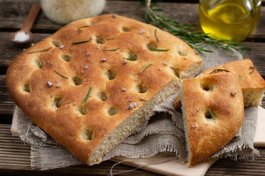 Healthy Italian flat bread focaccia with whole wheat flour