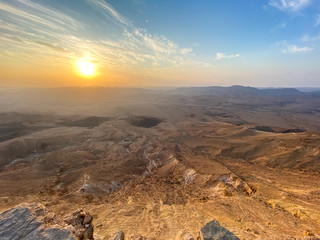Sunrise in Negev Desert. View of the Makhtesh Ramon Crator at Mitzpe Ramon, Sothern Negev, Israel.