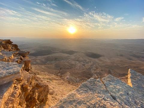 Sunrise in Negev Desert. View of the Makhtesh Ramon Crator at Mitzpe Ramon, Sothern Negev, Israel.