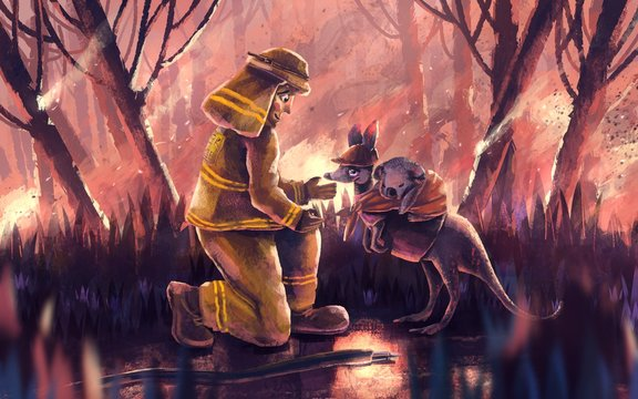 Firefighter helping kangaroo and koala bear from wildfire