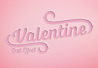 Valentine'S Day Paper Cut Text Effect Mockup