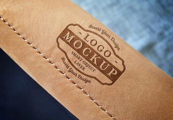 Logo Mockup on Leather Bag Handle