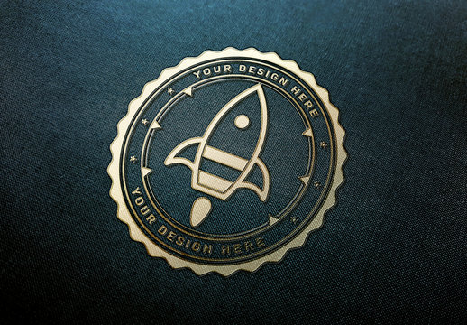 Gold Logo Mockup on Dark Fabric Texture
