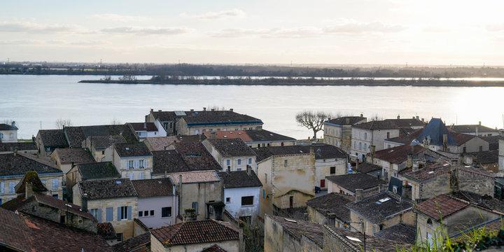 Bourg sur Gironde top aerial view village in Gironde Aquitaine in web banner header template