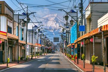 Wall Mural - The road in Fujiyoshida with background of Fuji mountain, Japan.