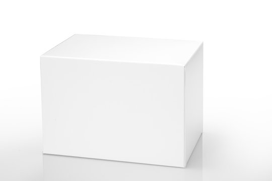 Blank white cardboard box isolated on white background, clipping path