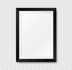 Realistic picture frame mockup. Vector Isolated on transparent background