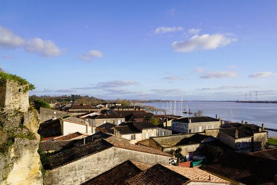 Bourg sur Gironde french village riverside in garonne dordogne river France