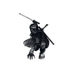 Ninja Character Wearing Mask and Standing in Fighting Pose Isolated on White Background Vector Sketched Illustration
