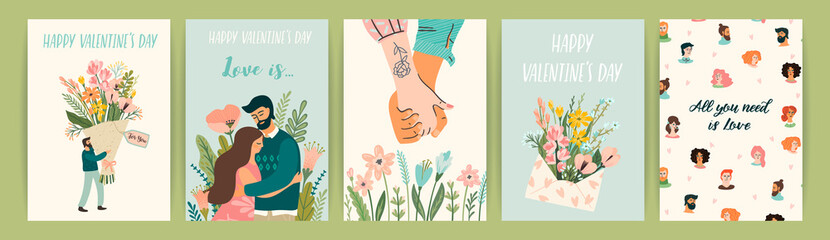 Romantic set of illustrations with man and woman. Vector design concept for Valentines Day and other users.