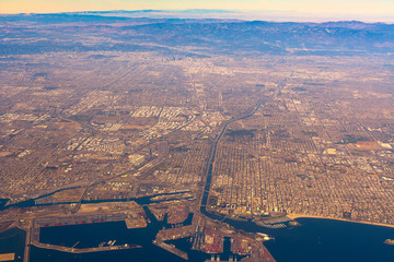 Aerial View of Los Angeles and Long Beach, California, United States