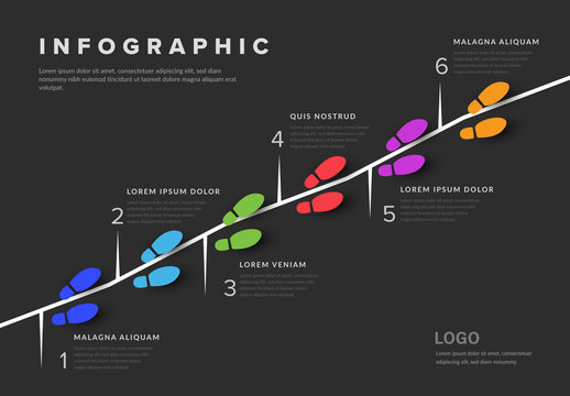 Infographic Layout with Colored Shoes Illustrations