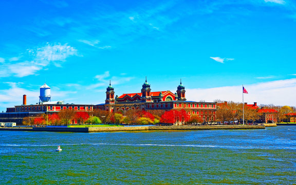 Ellis Island in Upper New York Bay. It was a gateway for immigrants. Manhattan area, New York City, America USA. American architecture building. Metropolis NYC. Cityscape. Hudson, East River