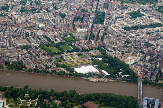 Aerial View across Chelsea with the Flower Show in progress