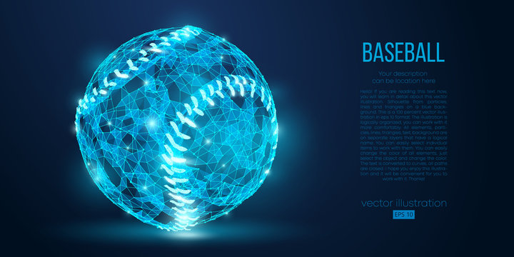 Abstract baseball ball from particles, lines and triangles on blue background. All elements on a separate layers, color can be changed to any other. Low poly neon wire outline geometric. Vector