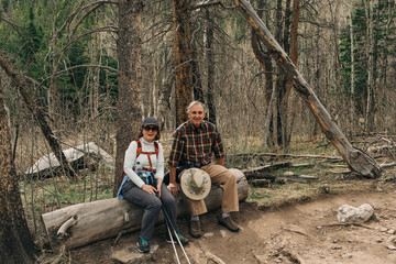 An older couple enjoy a hike in Rocky Mountain National Park, Colorado