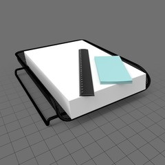Paper holder with scale and adhesive notes