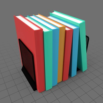 Mesh book holder with books