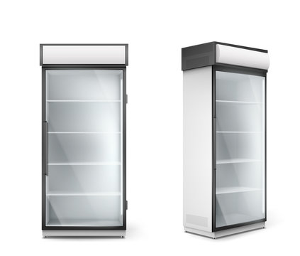 Empty refrigerator with transparent glass door. Vector fridge for display fresh food and drink in supermarket. Modern cooler with shelves and handle front and corner view