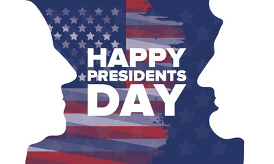 Happy Presidents day in United States. Washington's Birthday. Federal holiday in America. Celebrated in February. Patriotic american elements. Poster, banner and background. Vector illustration Wall mural