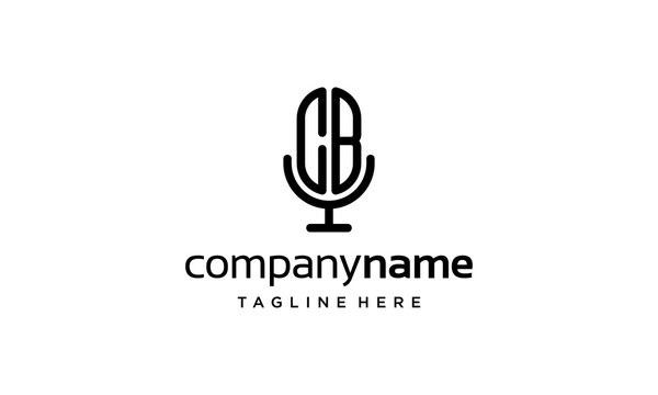 initial letter C and B with microphone podcast logo design template