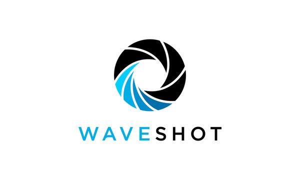 wave shot camera lens photography logo design concept