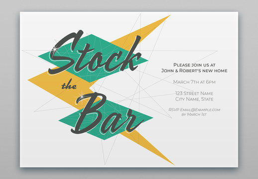 Mid-Century Style Stock the Bar Invite Layout