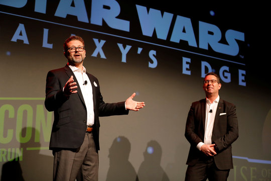 Paul Bailey, Principal Technical Director at Walt Disney Imagineering, talks about Panasonic laser projection technology with Michael Moskowitz, CEO of Panasonic Corporation of North America during the 2020 CES in Las Vegas