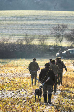 Scenic view of hunter waiting for a prey. Gamekeeper walks over field.