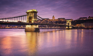 Amazing Chain Bridge, Budapest in sunset