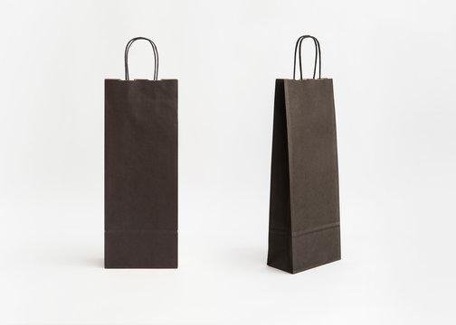 two black striped kraft paper bag for wine