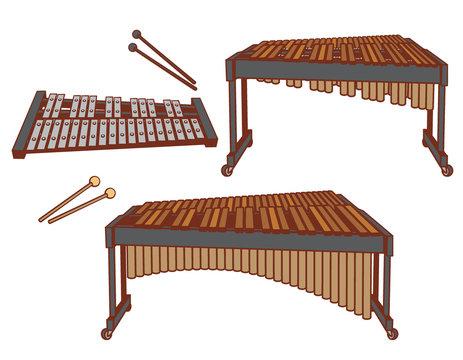 Percussion instruments set.