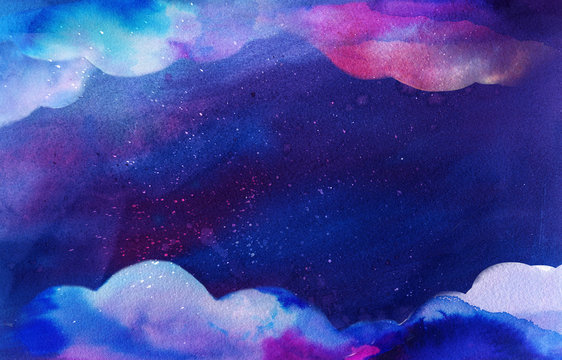 Watercolor clouds frame on deep blue space texture. Fantasy background with paint splashes and swashes