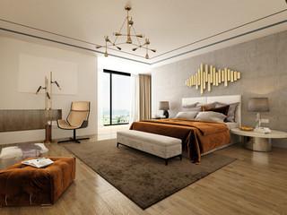 Fototapeta 3d render Nordic style bedroom obraz