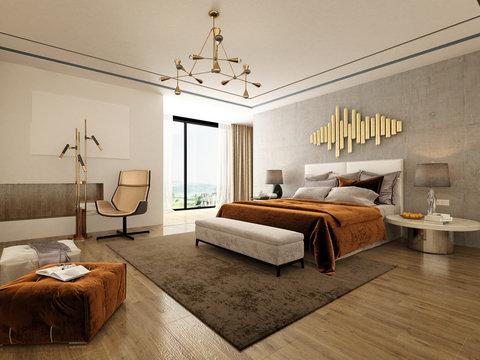 3d render Nordic style bedroom