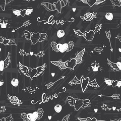Love Wedding Vector Background. Beautiful Doodle Heart tattoo. Hearts with Wings Seamless pattern. Valentines Day. Hand drawn illustration