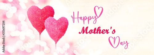 Happy Mother's Day background panorama banner long - Two red pink hearts balloons and bokeh lights on white bright  texture