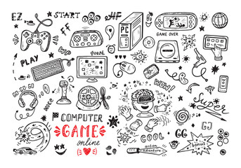 Gadget icons Vector Set. Hand Drawn Doodle Computer Game items. Video Games.