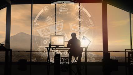 Male web developer silhouette and virtual infographics.