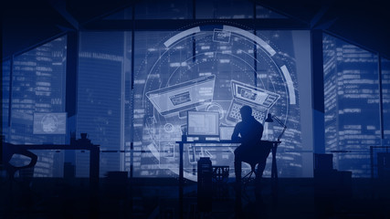 Web developer works on the background of evening skyscrapers and infographics.
