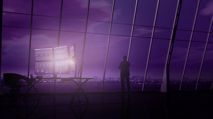 A trader is standing opposite a panoramic window in a dark office.