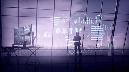 A trader in his office is surrounded by a virtual data array.