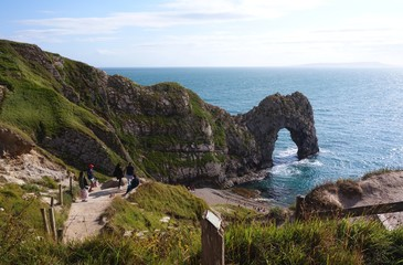 Durdle Door, one of the Jurassic Coast's most iconic landscapes during summer season in England
