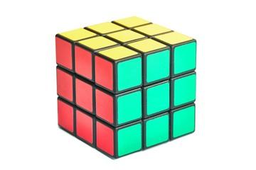 BUDAPEST, HUNGARY - CIRCA 2019: Solved Rubik's cube logic game on white studio background